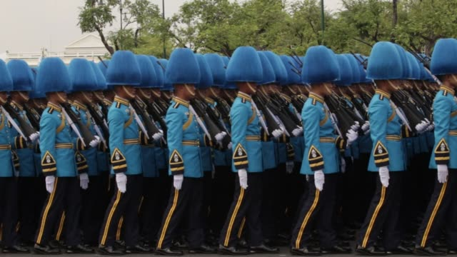 Royal Guards walk in formation during the cremation procession for the late King Bhumibol Adulyadej at Sanam Luang ceremonial ground in Bangkok...