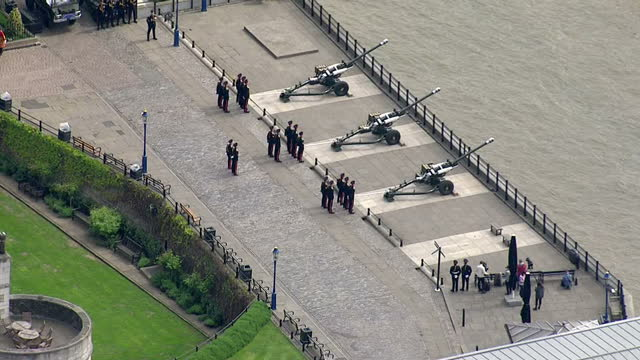 Royal gun salutes celebrate the birth of HRH Charlotte Elizabeth Diana of Cambridge Shows exterior aerials shots Honourable Artillery Company...