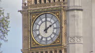 Royal gun salutes celebrate the birth of HRH Charlotte Elizabeth Diana of Cambridge Shows exterior shot clock face on Big Ben bells sounding at 2...