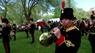 Royal gun salutes celebrate the birth of HRH Charlotte Elizabeth Diana of Cambridge Shows exterior shots Royal Artillery Band playing in Hyde Park...