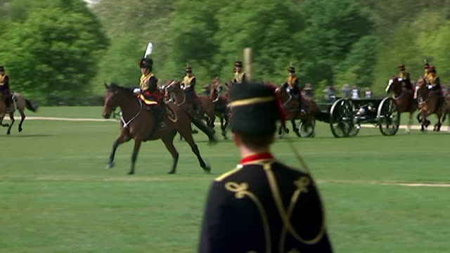 Royal gun salutes celebrate the birth of HRH Charlotte Elizabeth Diana of Cambridge Shows exterior shots the King's Troop Royal Horse Artillery...