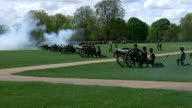 Royal gun salutes celebrate the birth of HRH Charlotte Elizabeth Diana of Cambridge Exterior shots the King's Troop firing canons in Hyde Park as...