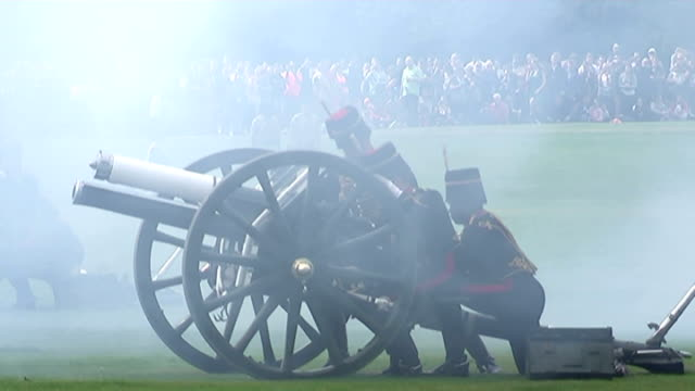 Royal gun salutes celebrate the birth of HRH Charlotte Elizabeth Diana of Cambridge Shows exterior shots King's Troop stationed at canons firing as...