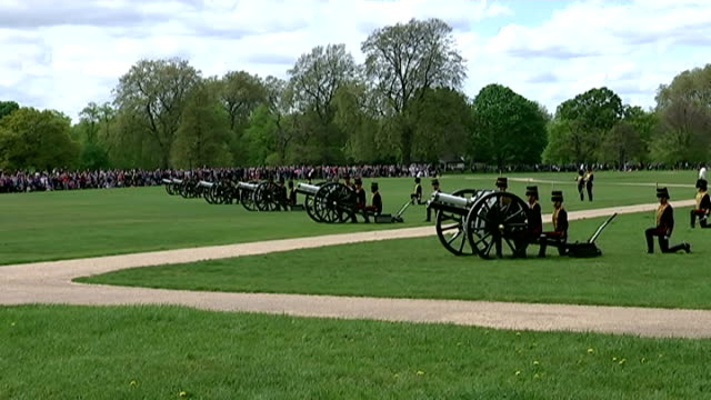 Royal gun salutes celebrate the birth of HRH Charlotte Elizabeth Diana of Cambridge Shows exterior shots King's Troop firing canons as part of 41 gun...