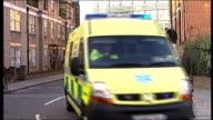 Royal Marsden hospital badly damaged by fire Firefighting and evacuation Ambulances away to evacuate patients / hospital staff in scrubs away from...