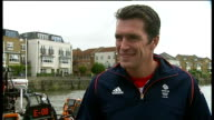 Royal National Lifeboat Institution launch new boat ENGLAND London Chiswick EXT Reporter to camera Greg Searle interview SOT Wayne Bellamy interview...