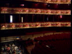 Royal opera house LIB London Royal Opera House INT Auditorium of the Royal Opera House PAN orchestra rehearsing Mary Allen speaking C4N