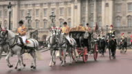 Royal Procession leaves Buckingham Palace with HM Queen Elizabeth in the Royal coach for the State Opening of Parliament