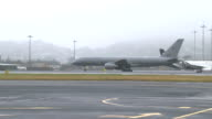 Royal visit Duke and Duchess of Cambridge and Prince George arrive in Wellington NEW ZEALAND Wellington Royal New Zealand Air Force plane touching...