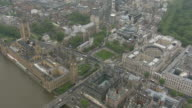 Air views of Westminster Abbey and Buckingham Palace ENGLAND London Westminster Westminster Abbey ZOOM IN then PULL OUT / AIR VIEW Buckingham Palace...
