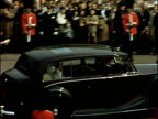 Colour footage of Princess Margaret's wedding to Antony Armstrong Jones INT Metal box with name 'JOHoward' Crowds behind Grenadier Guards Royal...