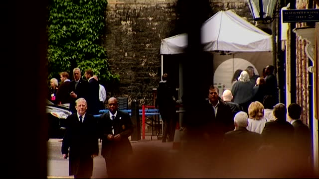Final preparations for wedding Westminster Abbey Long shot Kate Middleton beneath marquee outside Abbey for rehearsal Long shot Prince Harry along...
