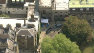 Final rehearsal Aerial of Kate Middleton and Prince Harry leaving Westminster Abbey ENGLAND London Westminster Awning at front of entrance to...