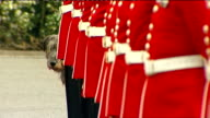 Irish Guards practice on parade ground Irish guards mascot Irish wolf hound lined up with troops More of troops being inspected