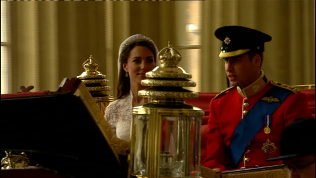 Royal wedding of Prince William and Kate Middleton ITV News Special Ceremonial Feed 1200 1300 Duke and Duchess of Cambridge state carriage through...