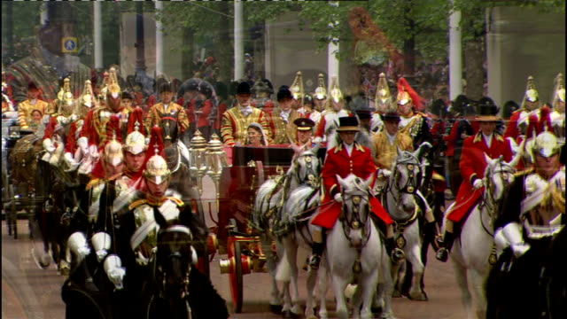 Royal wedding of Prince William and Kate Middleton ITV News Special Ceremonial Feed 1200 1300 Various shots of Duke and Duchess of Cambridge waving...