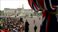 Royal wedding of Prince William and Kate Middleton ITV News Special PAB 1430 1530 EXT High view Buckingham Palace and Victoria Memorial Crowd...