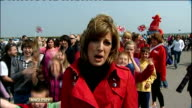 Royal wedding of Prince William and Kate Middleton ITV News Special PAB 1430 1530 ENGLAND London EXT Vox pops High view Buckingham Palace and crowds...