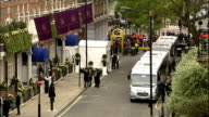 Royal wedding of Prince William and Kate Middleton ITV News Special PAB 0825 0930 ENGLAND London EXT High angle view of Buckingham Palace and...