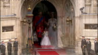 Royal wedding of Prince William and Kate Middleton ITV News Special PAB 1130 1230 EXT Catherine Duchess of Cambridge and Prince William out onto...