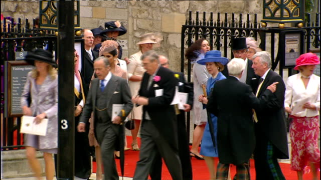 Royal wedding of Prince William and Kate Middleton ITV News Special PAB 1130 1230 High angle shot of Westminster Abbey Various shots of guests...