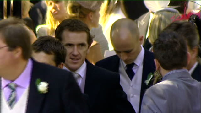 Royal wedding of Zara Phillips to Mike Tindall departures from church Katherine Kelly waving / Tony McCoy and other guests leaving / Jonny Wilkinson...