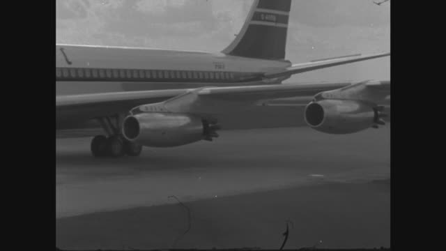 Royals arrive back in England after Tour of Australia ITN Plane taxis MS Stops by car and talk MS Queen Mother princess Anne and others MS Queen...
