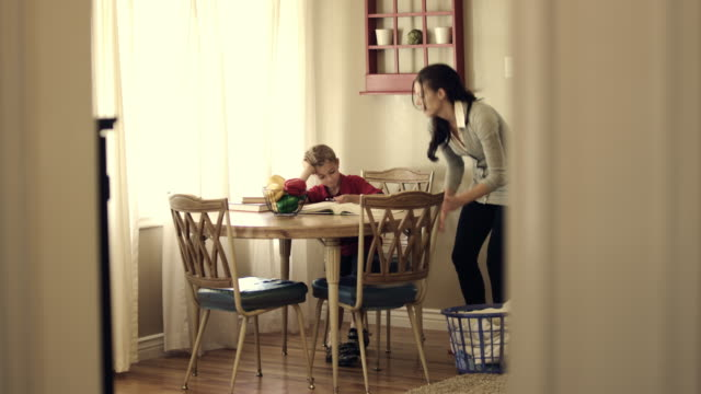 Royalty Free Stock Footage of Mother and child studying together.