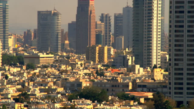 Royalty Free Stock Video Footage of a panoramic Tel Aviv cityscape shot in Israel at 4k with Red.