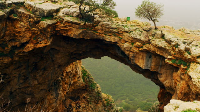 Royalty Free Stock Video Footage of Adamit Park Cave arch shot in Israel at 4k with Red.