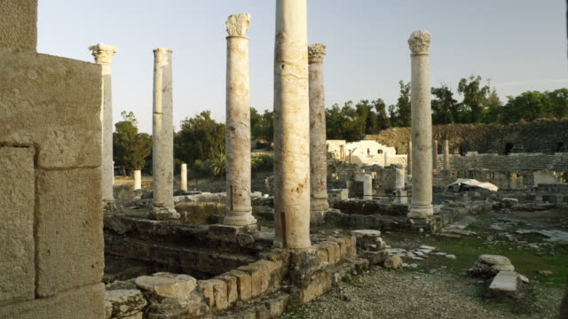 Royalty Free Stock Video Footage of Beit She'an columns shot in Israel at 4k with Red.