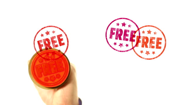 FREE rubber stamped on screen