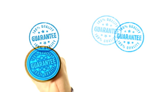 GUARANTEE rubber stamped on white background