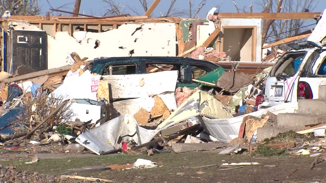 Rubble Around Car After Tornado on November 18 2013 in Washington Illinois