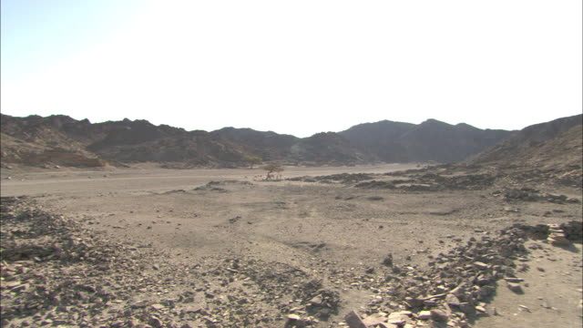 Rubble from crumbling ruins clutters a hilly landscape in Shenshef, Egypt.