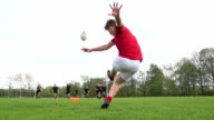 Rugby Kick Conversion through the posts - Super Slow motion