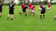 Rugby match action open play with Rucks (Sport)