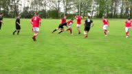 Rugby match action open play with tackles (Sport)