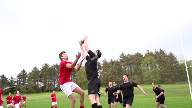 Rugby Match jumping for the ball - Super Slow motion