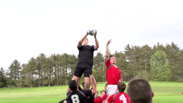 Rugby Match Lineout with ball thrown in - Super Slow motion