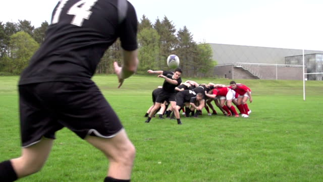 Rugby Scrum and pass / spin the ball out - Super slow motion