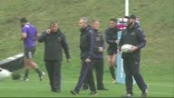 Rugby World Cup 2015 All Blacks training ENGLAND Surrey Bagshot Pennyhill Park EXT Richie McCaw jogging along / All Blacks team warming up / All...