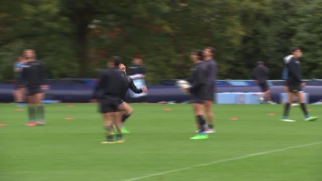 Rugby World Cup 2015 Argentina training ahead of semifinal match v Australia ENGLAND Surrey Bagshot Pennyhill Park EXT GVs 'England Rugby' sign on...