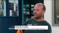 Rugby World Cup 2015 Man cycled for 2 years to watch his native South Africa loose against Japan ENGLAND London GIR INT Ron Rutland LIVE STUDIO...