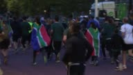 Rugby World Cup 2015 Springboks and supporters jog in memory of 1995 World Cup final ENGLAND London EXT / EARLY GVs of former springbok players and...