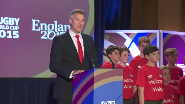 Rugby World Cup 2015 Wales Welcome Ceremony Dan Lobb speech SOT