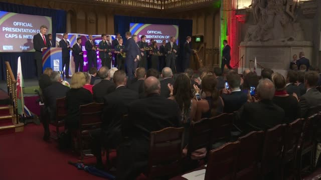 Rugby World Cup 2015 Wales Welcome Ceremony ***music playing** Prince William and Lapasset handing out cap and medals to Welsh Rugby team and...
