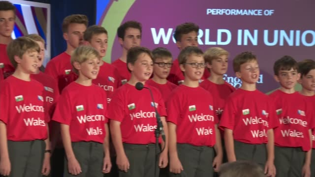 Rugby World Cup 2015 Wales Welcome Ceremony Reigate St Mary's Preparatory and School Choir singing SOT