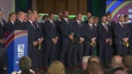Rugby World Cup 2015 Wales Welcome Ceremony Welsh team singing SOT