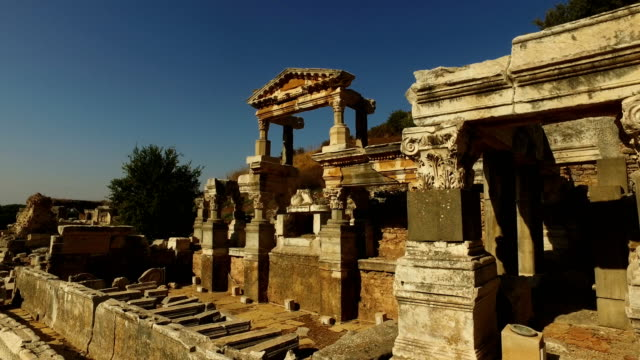 Ruins are seen in the ancient city of Ephesus on September 18 2017 in Izmir Turkey The ancient city of Ephesus continues to draw visitors as one of...